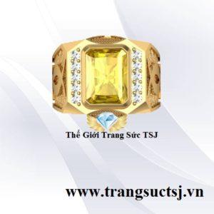 Nhẫn Sapphire Nam Màu Vàng Sang Trọng