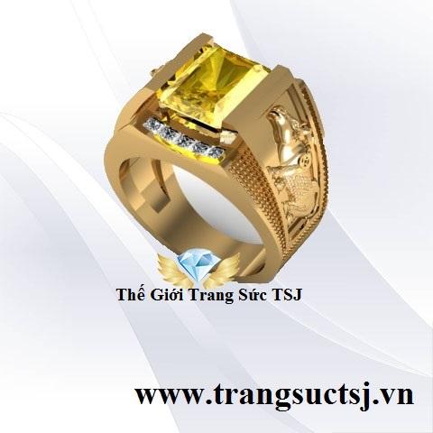 Nhẫn Sapphire Nam Sang Trọng Hợp Mệnh Kim