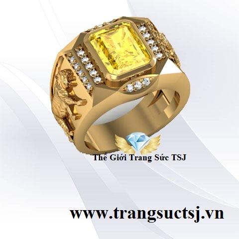 Nhẫn Tuổi Hổ 1962 Mệnh Kim Đá Sapphire Vàng