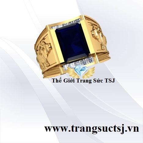 Nhẫn Vàng Nam 18k Hiện Đại Mặt Đá Sapphire
