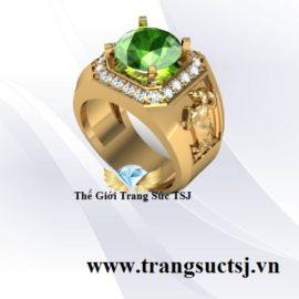 Nhẫn Đá Sapphire Xanh Lá Đẹp Cho Nam