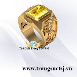 Nhẫn Nam Đá Quý Sapphire Vàng Thiên Nhiên Trang Sức TSJ