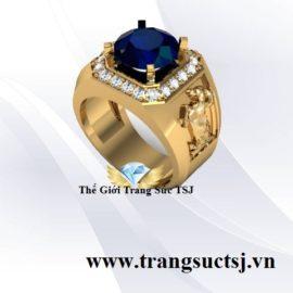Nhẫn Nam Hình Con Dê Đá Sapphire Xanh Bích Hợp Mệnh Thủy