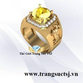 Nhẫn Nam Hình Con Giáp Phong Thủy Cho Nam Đá Sapphire Vàng