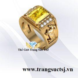 Nhẫn Nam Hình Dê Đá Sapphire Vàng Đẹp