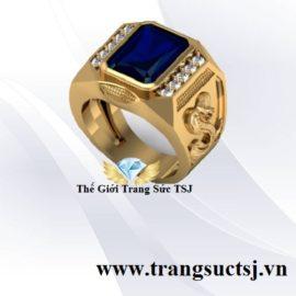 Nhẫn Nam Mệnh Mộc Đẹp Đá Sapphire Xanh Bích