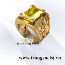 Nhẫn Nam Sang Trọng Mặt Đá Sapphire Vàng