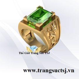 Nhẫn Nam Thời Thượng Đá Sapphire Xanh Lá