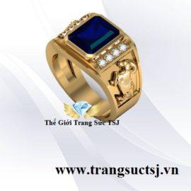Nhẫn Nam Tuổi Đinh Mùi Mệnh Thủy Mặt Đá Sapphire Xanh Bích