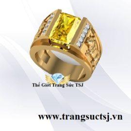 Nhẫn Nam Tuổi Mão 1963 Mệnh Kim Đá Sapphire Vàng