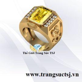 Nhẫn Nam Tuổi Rắn Đá Sapphire Vàng Sang Trọng