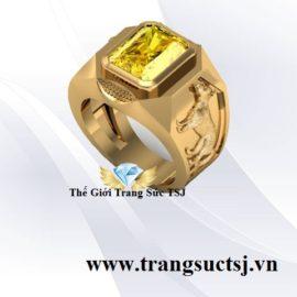 Nhẫn Nam Tuổi Tuất 1970 Sapphire Vàng Mệnh Kim