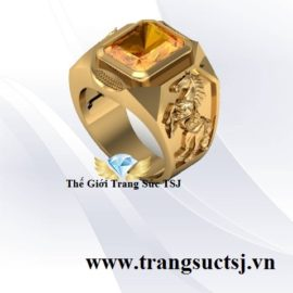 Nhẫn Phong Thủy Đẹp Cho Nam Đá Citrine Vàng