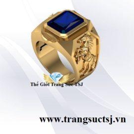 Nhẫn Phong Thủy Nam Tuổi Bính Ngọ Đính Sapphire Xanh Bích