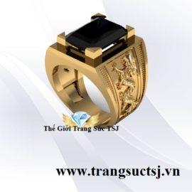 Nhẫn Rồng Nam Mặt Đá Sapphire Đen Thiên Nhiên