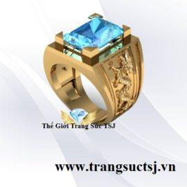 Nhẫn Vàng 18k Đẹp Đá Topaz Xanh Quà Tặng Sinh Nhật Cho Nam