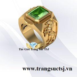 Nhẫn Vàng 18k Nam Hợp Phong Thủy Mặt Đá Sapphire Xanh Lá