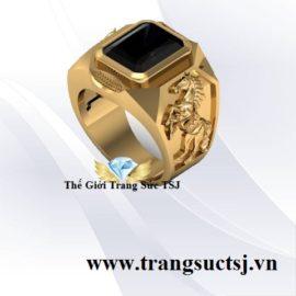 Nhẫn Vàng Nam Tuổi Ngọ Đẹp Nhất Mặt Đá Sapphire Đen