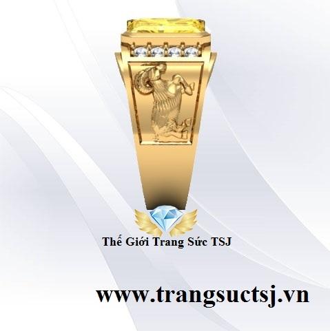 Nhẫn Dê Tuổi Ất Mùi 1955 Mệnh Kim Đá Sapphire Vàng