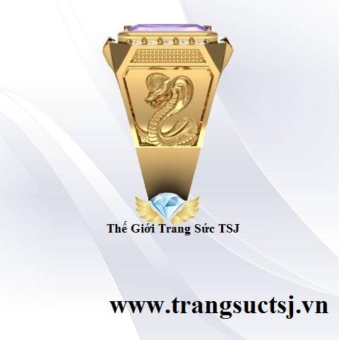 Nhẫn Mặt Đá Chữ Nhật Đẹp Vàng Tây 18K