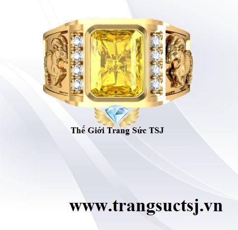Nhẫn Mặt Đá Sapphire Vàng Mệnh Kim