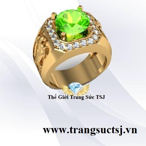 Nhẫn Mặt Đá Xanh Lá Cây Trang Sức TSJ