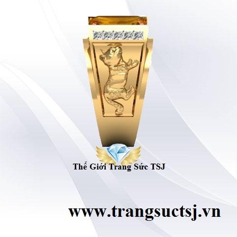 Nhẫn Mèo Đẹp Cho Nam Giới Mặt Đá Citrine Vàng