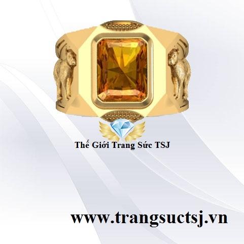 Nhẫn Nam Citrine Vàng Mệnh Kim