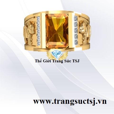 Nhẫn Nam Citrine Vàng Mệnh Thổ