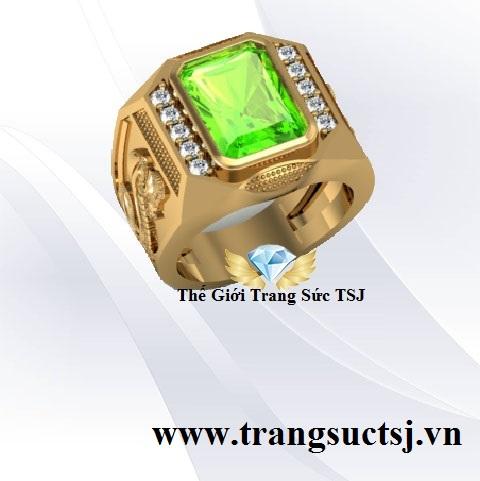 Nhẫn Nam Đá Peridot Đẹp Mặt Đá Peridot