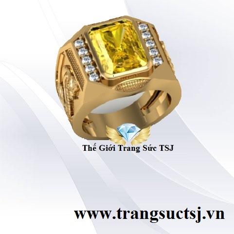 Nhẫn Nam Đá Sapphire Vàng Sang Trọng