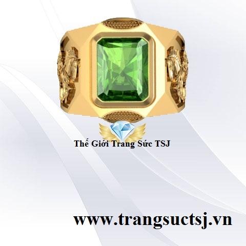 Nhẫn Nam Đính Sapphire Xanh Chuối Đẹp