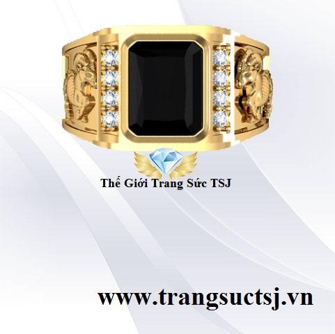 Nhẫn Nam Hình Dê Đá Sapphire Đen Thiên Nhiên