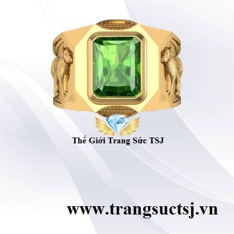 Nhẫn Nam Hình Tuất Đẹp Mặt Đá Sapphire