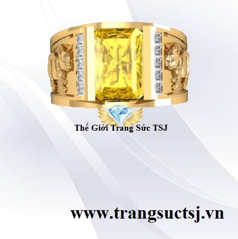 Nhẫn Nam Khắc Hình Mèo Tinh Xảo Mặt Đá Sapphire Vàng