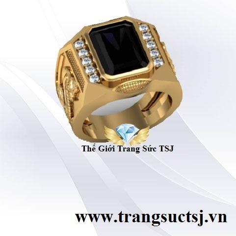 Nhẫn Nam Mặt Đá Sapphire Đen Thiên Nhiên Hình Rắn