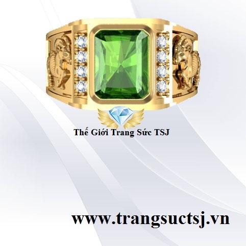 Nhẫn Nam Mặt Đá Sapphire Vàng 18k