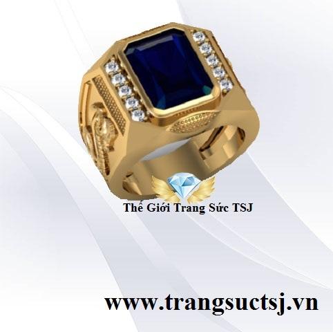 Nhẫn Nam Mặt Đá Sapphire Xanh Bích Đẹp