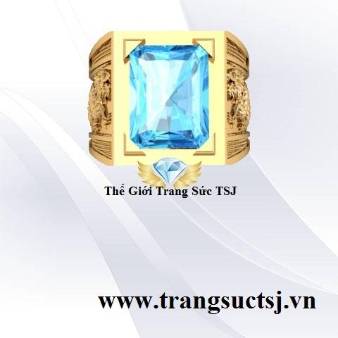 Nhẫn Nam Mẫu Hình Rồng Mặt Đá Topaz Xanh