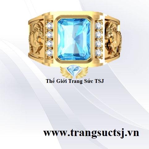 Nhẫn Nam Phong Thủy Mặt Đá Topaz Xanh