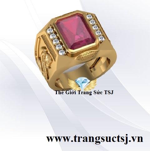 Nhẫn Nam Ruby Đỏ Hình Rắn Đẹp