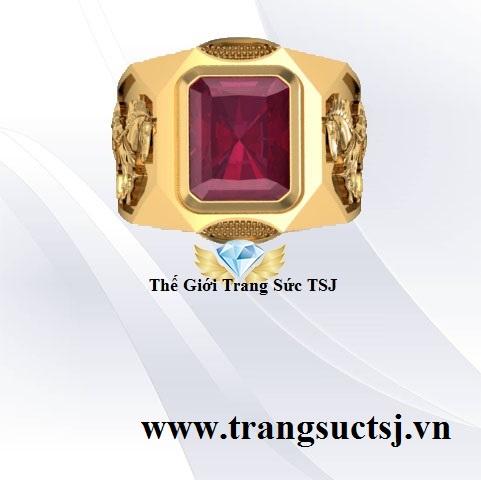 Nhẫn Nam Ruby Đỏ Phong Thủy Mặt Trang Sức PNJ