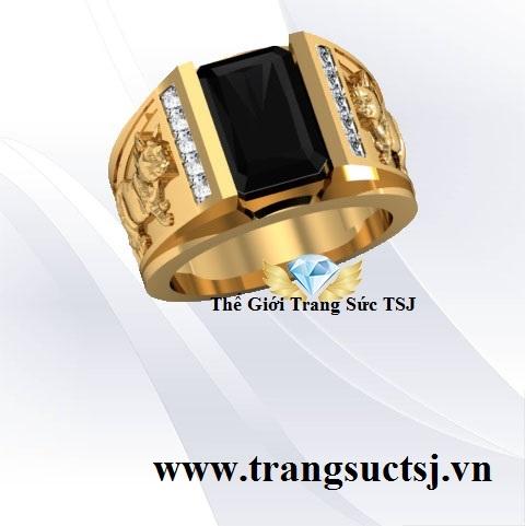 Nhẫn Nam Sapphire Đen Nhẫn Phong Thủy