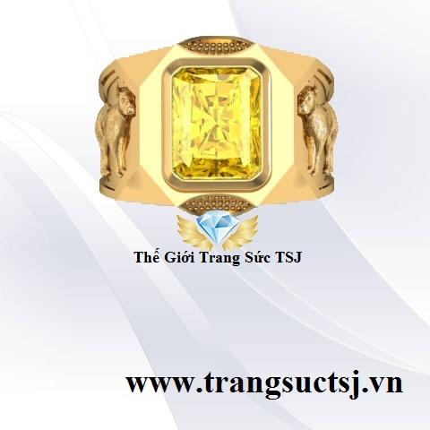 Nhẫn Nam Sapphire Vàng Hình Tuất