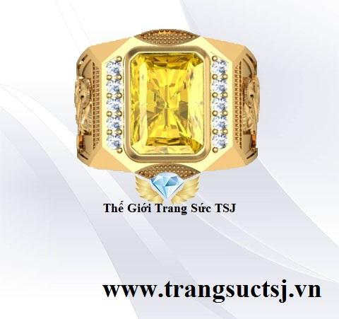 Nhẫn Nam Sapphire Vàng Thiên Nhiên