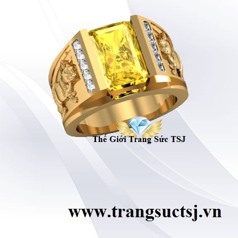 Nhẫn Nam Sapphire Vàng Trang Sức Tặng Đối Tác