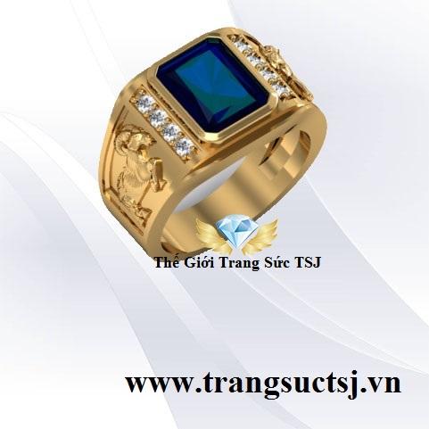 Nhẫn Nam Sapphire Xanh Bích Đẹp Trang Sức TSJ