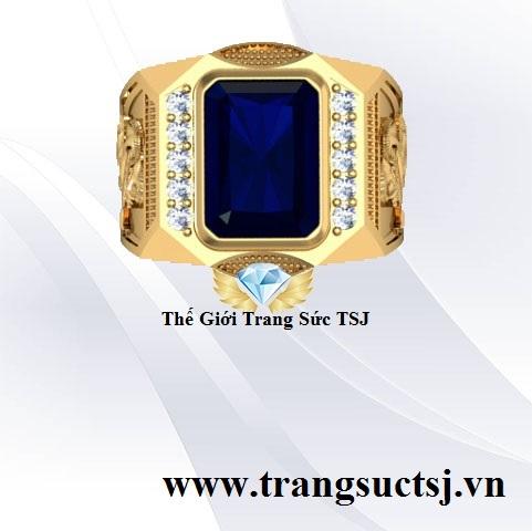 Nhẫn Nam Sapphire Xanh Bích Hiện Đại