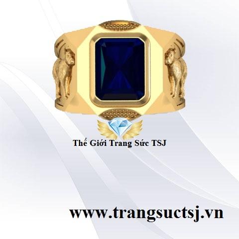 Nhẫn Nam Sapphire Xanh Bích Mệnh Thủy