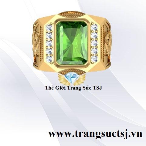 Nhẫn Nam Sapphire Xanh Lá Sang Trọng